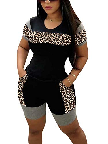 RAMOUG Leopard Print 2 Piece Outfit Color Block Booty Short Set for Women Yoga L Black