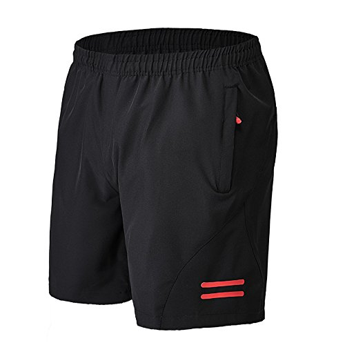 Mens Workout Running Shorts Zippered Pockets 7' Loose Gym Athletic Trainning Shorts with Side Pockets Red US L