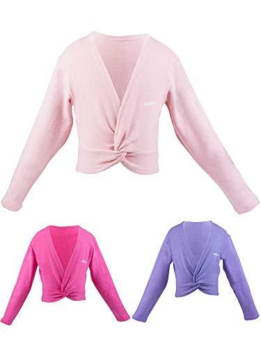 s.lemon Tanz Ballett Pullover Strickjacken Langarm Tanzpullover für Kinder Mädchen (Rosa, XL/Körpergröße: 125-135 cm)
