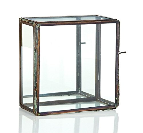 """CC Home Furnishings 6.25"""" Clear and Brown Rectangular Glass Tabletop Decor with Mirror Hinged Door"""