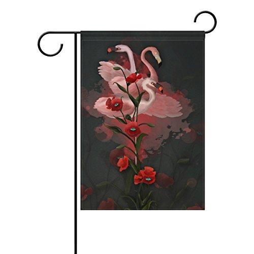 Jstel Home flamants roses et coquelicots 3d Tissu de polyester drapeaux de jardin Lovely et résistant aux moisissures personnalisés imperméables de 71,1 x 101,6 cm