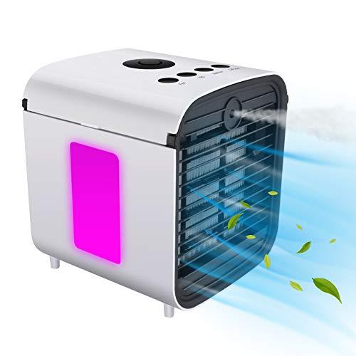 Refrigerador De Aire PortáTil 4 En 1 PequeñO, Ventilador De RefrigeracióN De Aire Y Humidificador, Purificador y Difusor De Aroma, 3 Velocidades, 7 Luces LED, USB Aire Acondicionado MóVil