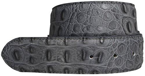 Brazil Lederwaren Wechselgürtel mit Krokoprägung ohne Schnalle 4,0 cm | Druckknopf-Gürtel für Damen Herren 40mm Kroko-Optik | Kroko-Muster 4cm | Dunkelgrau 95cm
