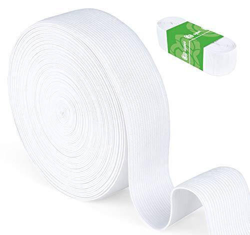 Agoer Gummiband Weiß 30mm Breit - 10 Meter (11 Yards) Gummilitze Elastisches zum Nähen, Elastic Band für Haushalt DIY Handwerk