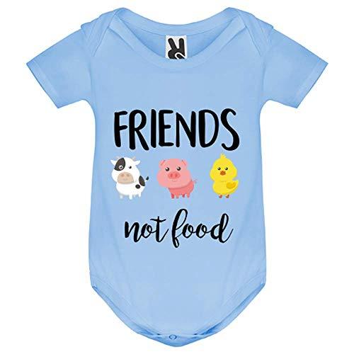 My-Kase Body bébé - Friends Not Food Vegan - Bébé Garçon - Bleu - 6MOIS