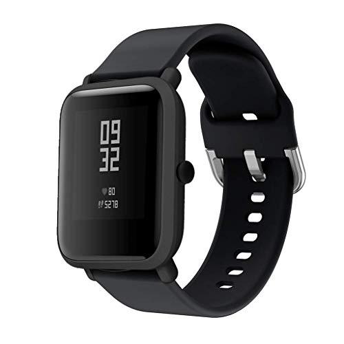 CNBOY Correas de Reloj de Repuesto de Silicona para Xiaomi Huami Amazfit Bip Youth Watch (Negro, 20mm)