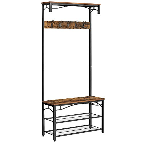 VASAGLE Coat Rack Stand, Industrial Coat Tree, Hallway Shoe Rack and Bench with Shelves, Hall Tree with Hooks, Matte Metal Frame, 80 x 32 x 178.5 cm (L x W x H) HSR45BX