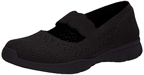 Skechers Women's Seager-Power Hitter-Engineered Knit Mary Jane Flat, Black/Black, 8 M US