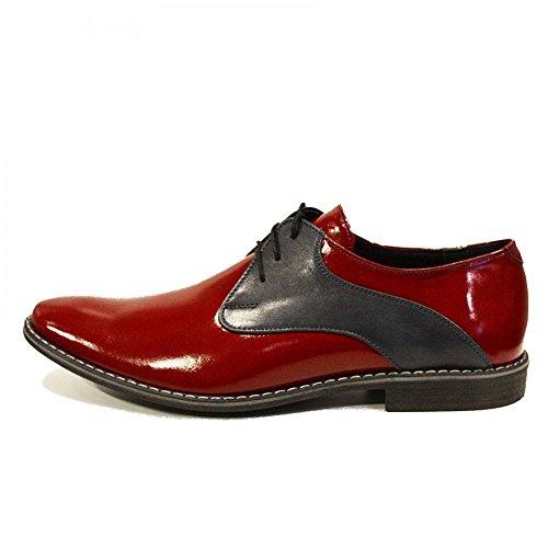 Modello Otito - EU 39 - US 6 - UK 5-24,7 cm - Handmade Italiano da Uomo in Pelle Colore Rosso Scarpe da Sera - Vacchetta Pelle di Brevetto - Allacciare
