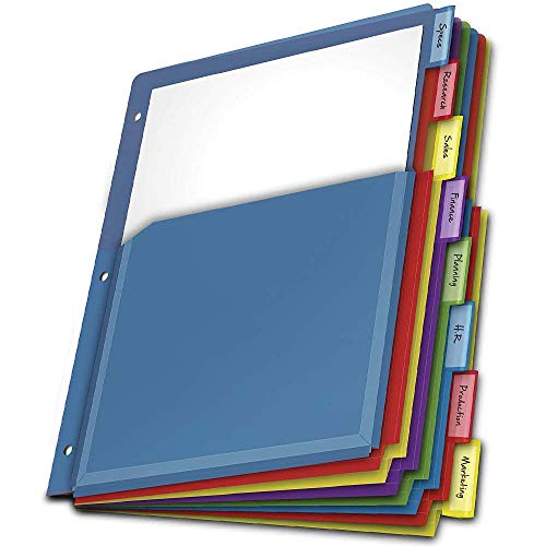 Expanding Plastic Binder Dividers, Insertable Multicolor Tabs, 8-Tab, Letter Size, Flexible Front Pockets Expand 1/4 in, 1 Set