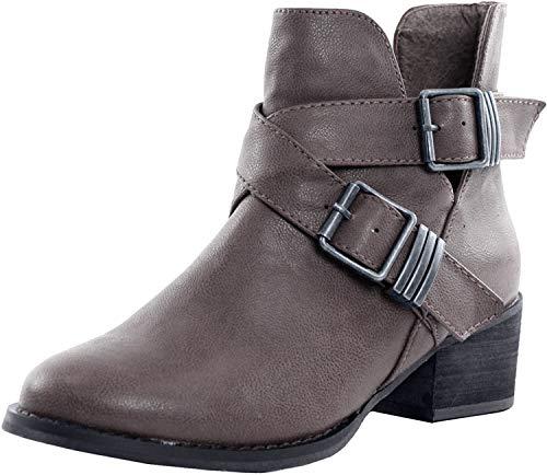 Breckelle's Womens Bronco-11 Bootie Boots Beige 5.5