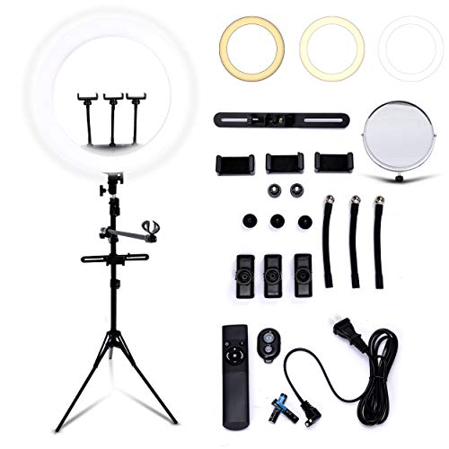 Big 21 inch Led Ring Light Portable 2.1mm Thick Tripod Light Stand,10 Brightness Level with 3 Color Temperature, 3 Phone Holder, Mirror, Carrying Bag, Remote Controller and Bluetooth Remote -  Hifier