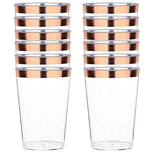 Nrpfell Vaso de PláStico de Oro Rosa Paquete 12 Oz.50 Vaso de PláStico Transparente Duro Vaso Desechable para Fiesta Vaso de Boda Elegante Vaso DecoracióN Elegante Vaso PláStico una Granel