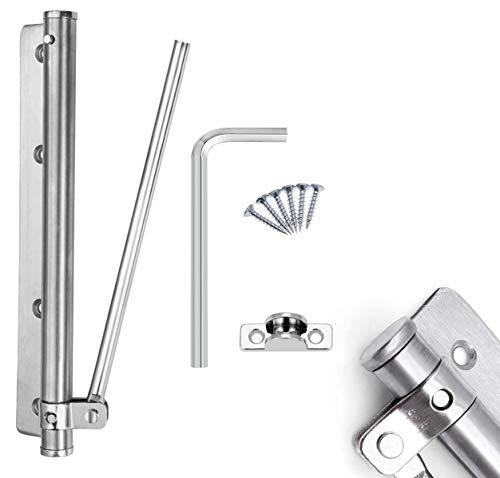 Chiudiporta Automatico Molla per Porta Acciaio Inossidabile Regolabile Montaggio a Chiusura per Porte Casa Ufficio (80kg) (Silber)