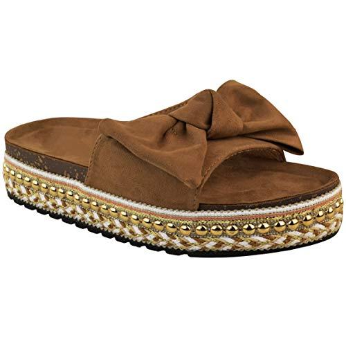 Fashion Thirsty Womens Bow Flatform Sandals Peep Toe Ladies Pearl Stud Wedges Shoes Platform by Heelberry®