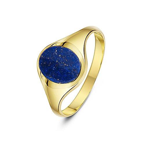 Theia Herren Siegelring 9 Karat Gelbgold, Ovaler, Set mit blauem Lapislazuli 10 x 8mm, Größe 47 (15.0)