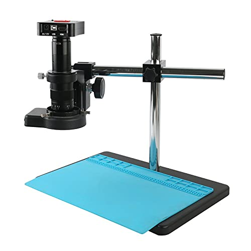 HONYGE LXGANG Microscope 4K UHD 50MP HDMI USB Industrial Video Microscope Camera 180X 300X Electronic Digital Magnifier for Lab/PCB Jewelry Soldering (Color : B, Magnification : 300x)