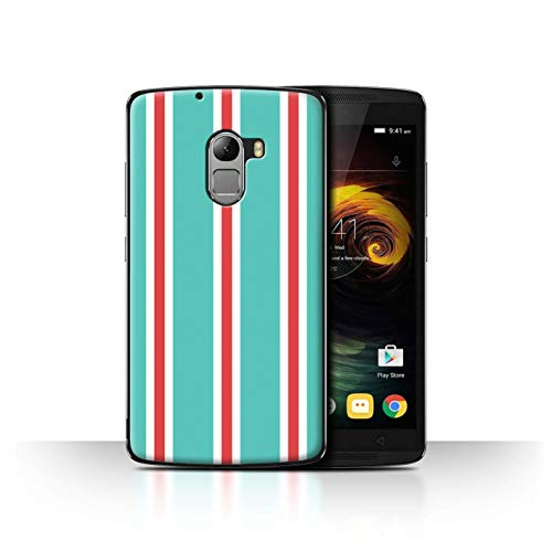 Phone Case for Lenovo Vibe K4 Note Seaside Fashion Teal/Red Stripes Transparent Clear Ultra Slim Thin Hard Back Cover