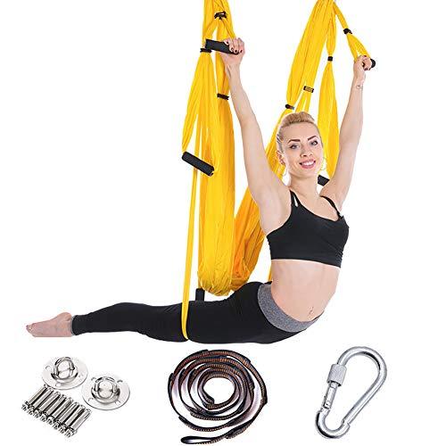 WYYHAA Juego de columpio de yoga aéreo con tres diferentes cadenas de margaritas de mango alto, mosquetones resistentes, correas para colgar y asas gruesas de EVA
