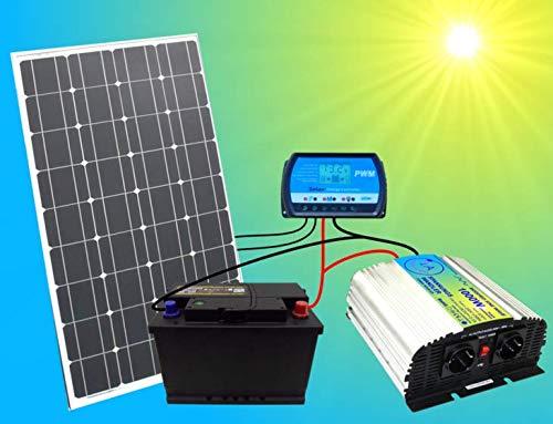 1A-INNOVATION SOLAR VORSPRUNG DURCH SONNENENERGIE 100W Solaranlage Komplettpaket 220V TÜV Komplettset Qualitäts 100Ah Akku wartungsfrei 100W Hochleistungs Solarmodul 1000W Qualitäts- Spannungswandler
