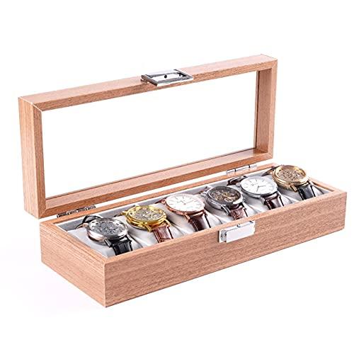 Caja de reloj Organizador de caja Caja de reloj de madera maciza con pantalla de vidrio con cojín extraíble para almacenamiento y exhibición