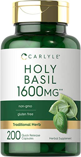 Carlyle Holy Basil 1600 mg | 200 Capsules | Holy Basil Leaf Extract | Herbal Supplement | Non-GMO, Gluten Free