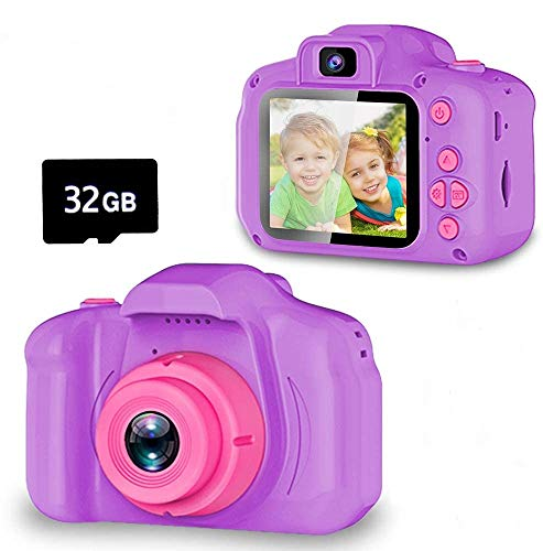 Seckton Upgrade Kids Selfie Camera, Christmas Birthday Gifts for Girls Age 3-9, HD Digital Video Cameras for Toddler, Portable Toy for 3 4 5 6 7 8 Year Old Girl with 32GB SD Card-Purple