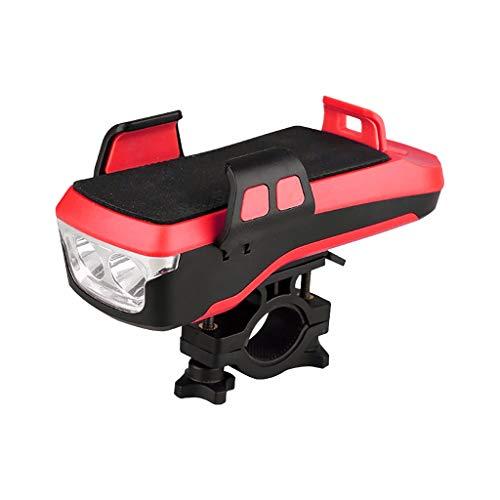 Koojawind 4 en 1 Multi-Finition Phare de vélo LED vélo Haut-Parleur Support de téléphone USB vélo sécurité Avant lumière avec Installation Facile