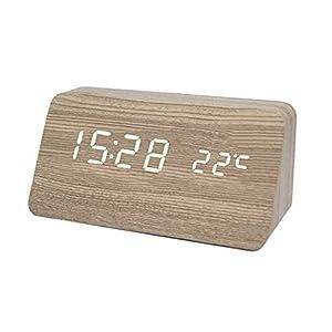 Festnight Reloj de madera multifuncional Reloj digital LED Alcanfor Grano de madera Reloj de madera Control de sonido silencioso Reloj despertador electrónico LED Regalo para estudiantes Reloj