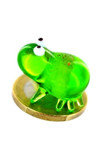 Unbekannt Mini grenouille en verre vert - Figurine miniature en verre - 1 grenouille en verre