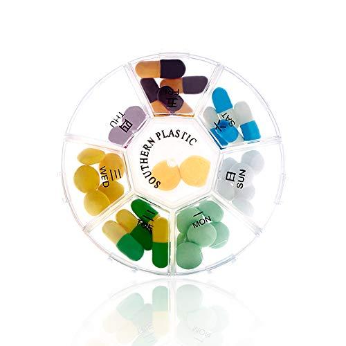 Portapillole Giornaliero - Organizzatore e Pianificatore di Pillole di Viaggio Settimanale - Compartimenti Rimovibili a 7 Lati - Scatola Per Pillole Ideale Per i Viaggi, Di HSYTEK
