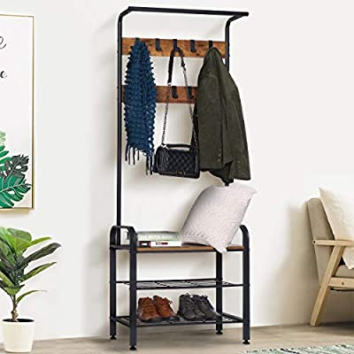 KINGSO Coat Rack Shoe Bench, Hall Tree with Shoe Storage for Entryway, Industrial Accent Furniture with Metal Frame, 3 in 1 Design, Rustic Brown