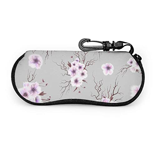 Tcerlcir Estuche para gafas Morado Retronatural Flower Camellia Estuche de viaje para gafas de sol Estuche para gafas de sol Estuche ligero portátil Estuche para lentes moderno, 17x8cm
