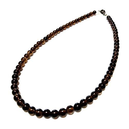 6ミリ スモーキー クォーツ 煙水晶 メンズ レディース 数珠 ネックレス (45)