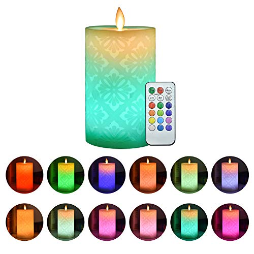 ACROSS Flickering Flameless Candles, Set of 1 Real Wax Color Changing LED Pillar Candles Battery Operated Realistic 3D Dancing Flame Fake Candles with 18-Key Remote Control for Halloween Christmas