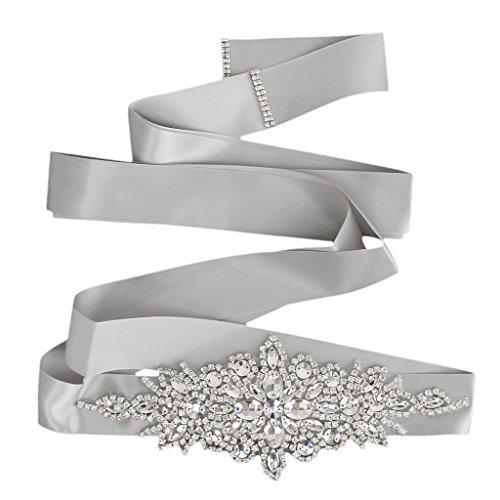 Braut Hochzeitskleid Gürtel Schärpe Kristall Strass Funkeln Band Binden - Grau