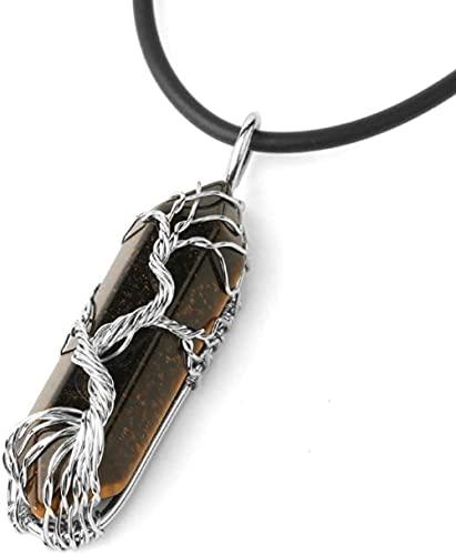 Collar Mujer Collar Hombre Colgante Collar con Colgante en Piedras Naturales Ojo de Tigre Piedra de Salud Natural Seis Seis Prismas Árbol de Cuerda Manual Joyería de Navidad Regalos Aniversario Regalo