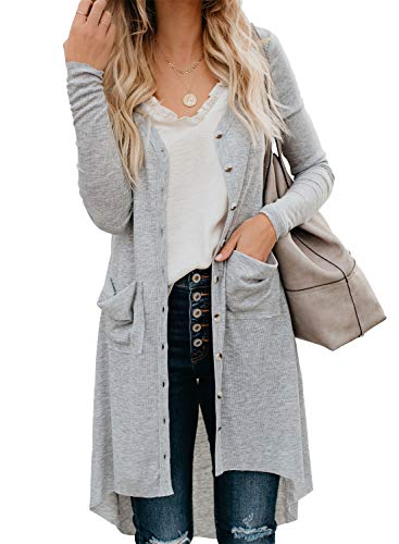 GOSOPIN Women Pocketed Button Down Long Knit Ribbed Cardigans Outwear X-Large Light Gray