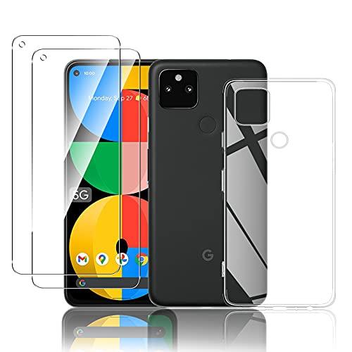 【2+1】QULLOO Google Pixel 5a 5G ガラスフィルム 2枚 + ケース TPU素材 旭硝子製 強化フィルム 9H硬度 高透過率 防指紋 飛散防止 クリア 透明 落下防止 衝撃吸収 Google Pixel 5a フィルム + 保護カバー