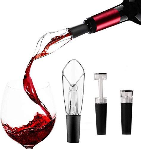 Wine Aerator Pourer Wine Vacuum Stopper Air Pump with Wine Aerator Pourer and Vacuum Seal Stopper(3 PCS )