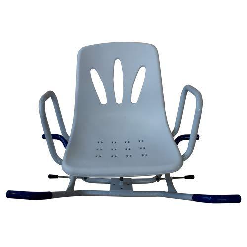 Mobiclinic, Sedia da bagno, Lago, Marchio europeo, girevole, da doccia, ortopedica, alteza regolabile, schienale, braccioli, piedini antiscivolo