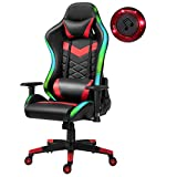 Gaming Chair, Ergonomic Bonded Leather Racing Style Recliner Swiveling Task Office Desk Computer Video Gaming Chairs with Headrest Waist Pillow RGB LED Lights and Bluetooth Speakers, Black/Red