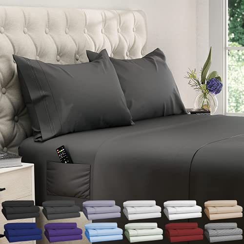 DREAMCARE Extra Deep Pocket Sheets Set Microfiber Sheet Set - Cooling Sheets Cooling Bed Sheets Soft & Long Lasting 100% Fine Brushed Microfiber Polyester with Side Pocket Queen Size, Gray