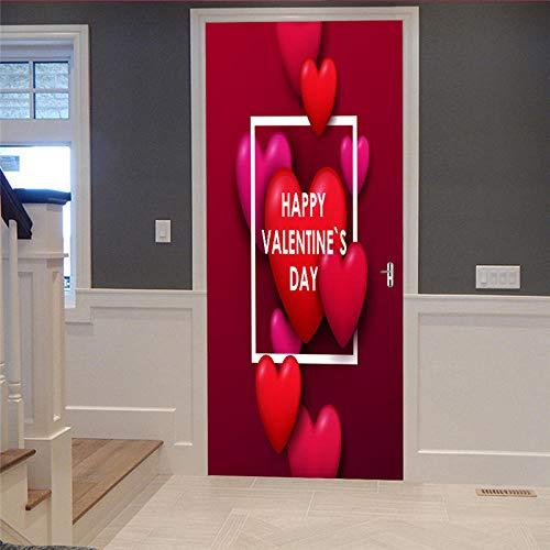 Azbza Vinilo Para La Puerta Carteles Pegatinas De Pared Corazón Rojo Creativo 86 X 200Cm Papel Pintado Autoadhesivo Calcomanía De Vinilo Para La Puerta Carteles Pegatinas De Pared Diy Decoraciones