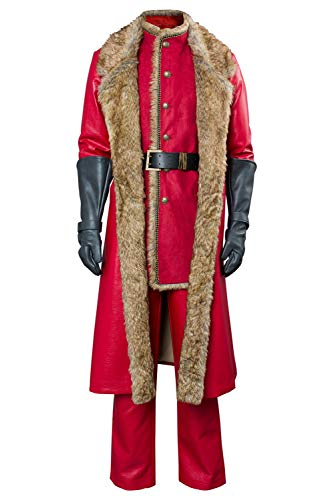 Mens Christmas Movie Santa Claus Cosplay Costume Outfit Red Leather Coat