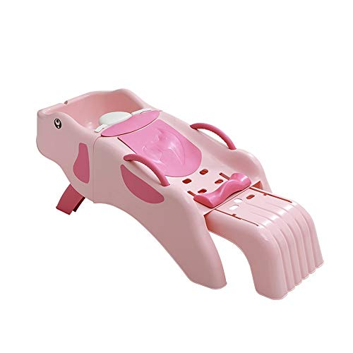 WOF Klappstuhl Kinder Shampoo Stuhl - Safety Skid Proof Shampoo Stuhl Netter Baby Badestuhl für Kleinkinder für 1-10 Jahre alte Badesitz Badewanne zusammenklappbar