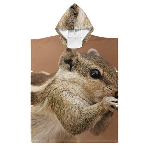 Lupinz brauner Bademantel mit Eichhörnchen-Motiv, für Jungen und Mädchen, mit Kapuze, Polyester, 1, 35.43x27.55in