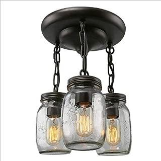 CLFINE Rural Industrial Ceiling Light Fixture,Farmhouse Mason Jar Glass Pendant for Kitchen Island Bedroom Living-Room, 3-Heads