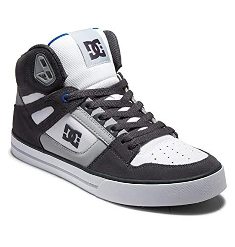 DC Shoes Pure High top Wc Skateboarding Zapatos para hombre, Gris, blanco y azul., 48 EU