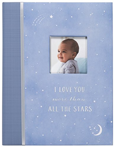 """Carter's Periwinkle and Silver Twinkle Twinkle Little Star My First Years Bound Baby Memory Book, 9"""" W x 11.125"""" H, 60 Pages"""